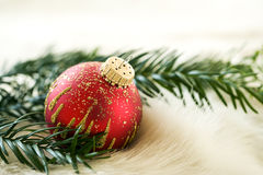 Red christmas bauble and fir branch Royalty Free Stock Photos