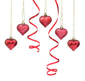 Red Christmas bauble hearts Stock Images