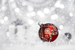 Red Christmas bauble on neutral background, text space Royalty Free Stock Photos