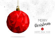 Red christmas bauble ornament greeting card design Royalty Free Stock Images