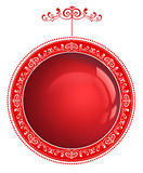 Red Christmas bauble with ornament isolated on white Royalty Free Stock Photo