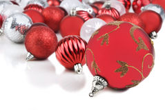 Red christmas bauble ornaments Stock Images