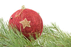 Red christmas bauble and pine branch Stock Photography