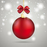 Red Christmas Bauble Red Ribbon Snowflakes. Snowflakes with red bauble the grey background Royalty Free Stock Images