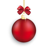Red Christmas Bauble Red Ribbon White Background. Red christmas bauble with ribbon on the white background Royalty Free Stock Photos