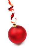 Red christmas bauble. Christmas bauble with red ribbon, isolated Stock Image