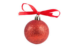 Red christmas bauble with ribbon Stock Photos