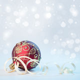 Red Christmas bauble with silver ornament, text space Royalty Free Stock Photography