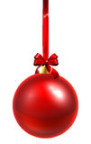 Red Christmas Bauble. A red Christmas tree bauble decoration ornament with a red ribbon bow Stock Photos