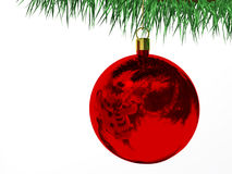Red Christmas baubles. On white royalty free illustration