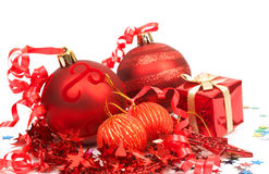 Red Christmas baubles. Four red Christmas baubles and stars Stock Images