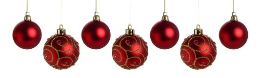 Red Christmas baubles Stock Photos