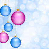 Red Christmas baubles. Christmas baubles on abstract blue background Royalty Free Stock Image