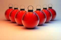 Red Christmas baubles background Royalty Free Stock Photo