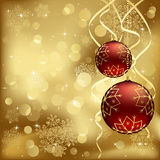 Red Christmas baubles with blurry lights Royalty Free Stock Photography