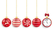 5 Red Christmas Baubles Clock 2017. 5 red christmas baubles with a clock and date 2017 on the white background Royalty Free Stock Photo