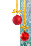 Red Christmas Baubles with Copy Space Stock Images
