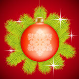 Red Christmas baubles Stock Image