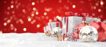 Red christmas baubles and gifts background 3D rendering vector illustration