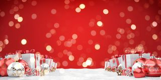 Red christmas baubles and gifts background 3D rendering royalty free illustration