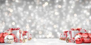 Red christmas baubles and gifts background 3D rendering. Red christmas gifts and baubles lined up on grey background 3D rendering vector illustration