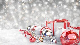 Red christmas baubles and gifts background 3D rendering. Red christmas gifts and baubles lined up on grey background 3D rendering royalty free illustration