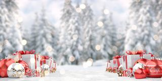 Red christmas baubles and gifts background 3D rendering. Red christmas gifts and baubles lined up on snowy background 3D rendering vector illustration