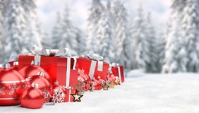 Red christmas baubles and gifts background 3D rendering. Red christmas gifts and baubles lined up on snowy background 3D rendering royalty free illustration