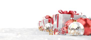 Red christmas baubles and gifts background 3D rendering stock illustration