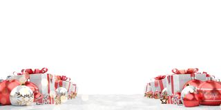Red christmas baubles and gifts background 3D rendering. Red christmas gifts and baubles lined up on white background 3D rendering vector illustration