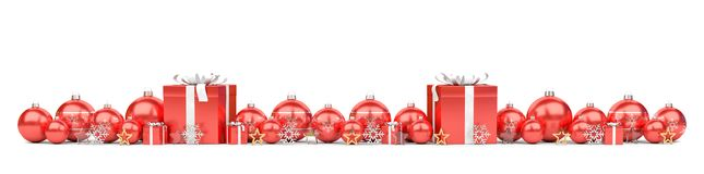 Red christmas baubles and gifts background 3D rendering. Red christmas gifts and baubles lined up on white background 3D rendering royalty free illustration