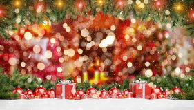 Red christmas baubles and gifts lined up 3D rendering royalty free illustration
