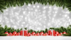 Red christmas baubles and gifts lined up 3D rendering. Red christmas baubles and gifts lined up on grey snowy background 3D rendering royalty free illustration