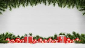 Red christmas baubles and gifts lined up 3D rendering. Red christmas baubles and gifts lined up on wood background 3D rendering vector illustration