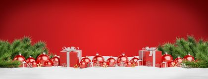Red christmas baubles and gifts lined up 3D rendering. Red christmas baubles and gifts lined up on red background 3D rendering royalty free illustration