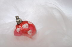 Red christmas baubles with heart shapes Royalty Free Stock Photo