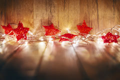 Red Christmas Baubles Merry And Happy Holidays Stars Garland Lights