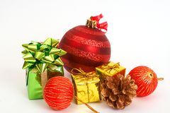Red Christmas baubles and other decorations Royalty Free Stock Photos
