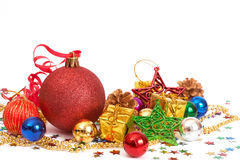 Red Christmas baubles and other decorations Royalty Free Stock Image
