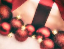 Red Christmas Baubles with Present stock image
