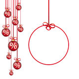 Red Christmas Baubles Red Ribbons Percents Circle Sticker. Hanging red christmas baubles with percents and round price sticker on the white  background Stock Photos