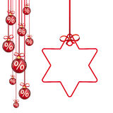 Red Christmas Baubles Red Ribbons Percents Star. Hanging red christmas baubles with percents on the white  background Stock Images