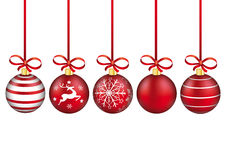 5 Red Christmas Baubles Red Ribbons. 5 red christmas baubles with red ribbons on the white background Royalty Free Stock Photo