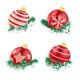 Red Christmas Baubles in Twigs Snow Royalty Free Stock Image