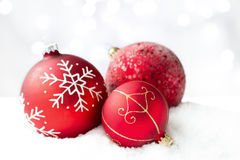 Red Christmas baubles stock photography