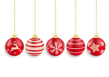 5 Red Christmas Baubles White Background Stock Photo