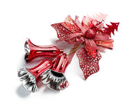 Red christmas bell decoration hanging on white Stock Image