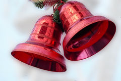Red christmas bells, street decoration Stock Photography