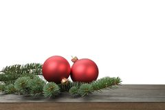 Red christmas blank balls on fir branch, white Royalty Free Stock Images