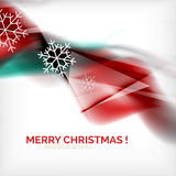 Red Christmas blurred waves and snowflakes Stock Photos